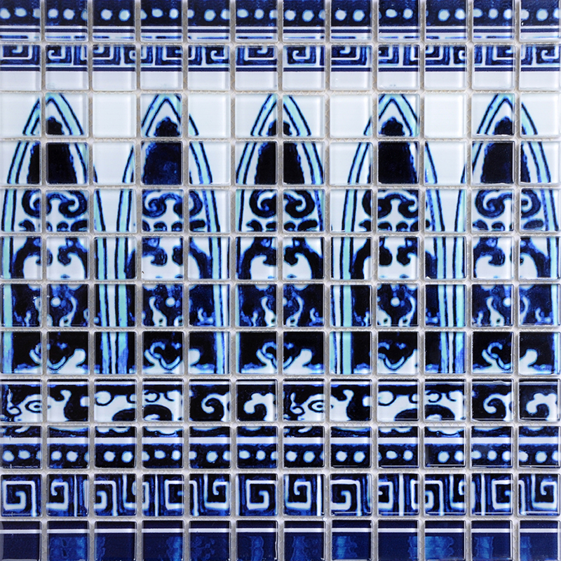 Kitchen Blue Wall Tiles: Crystal Glass Tile Blue And White Puzzle Mosaic Tile