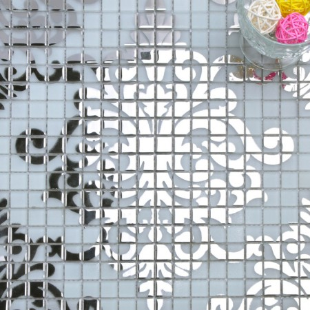 "Mosaic Murals White and Silver Glass Plated Wall Decoration 3/5"" Small Tile Squares Collages MTM058"