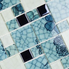 Crystal Glass Mosaic Kitchen Tiles Washroom Backsplash Bathroom Blue and White Tile Crackle Glass Patterns Design Shower Wall Tiles