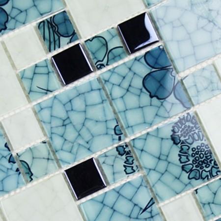 Crystal glass mosaic kitchen tiles washroom backsplash for Washroom tiles design