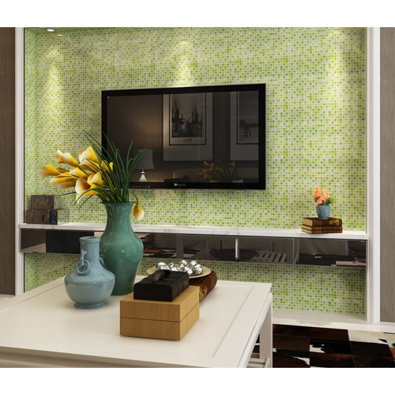 Green Kitchen Backsplash: Green Crackle Glass Tiles Crystal Tile Wall Backsplashes