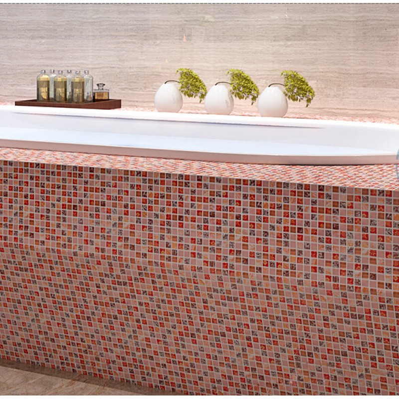 Stone tile crackle crystal glass tile shower wall for Pink glass bathroom accessories
