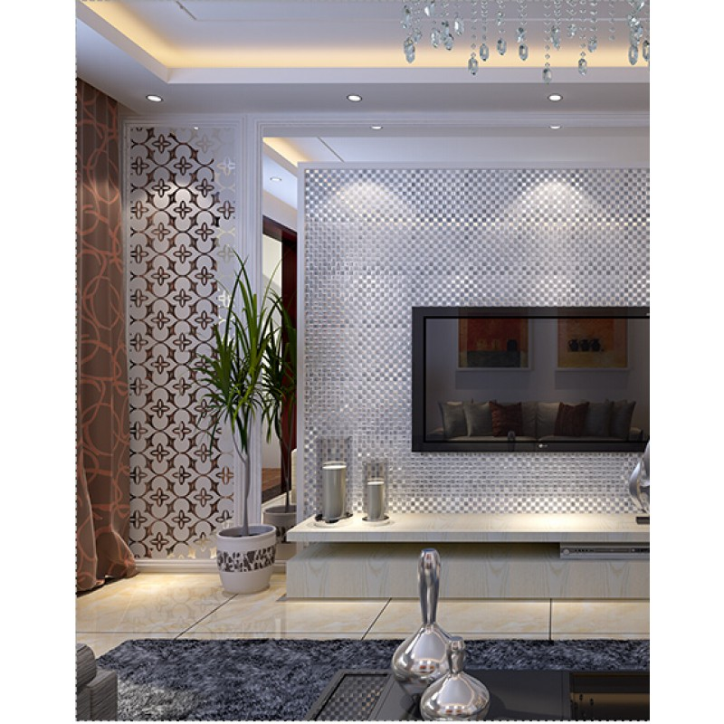 Glass Tiles In Bathroom: Silver Mirror Glass Tile Crystal Tile Square Wall