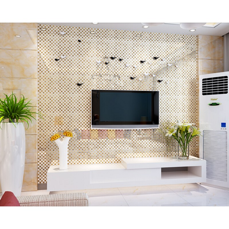 Gold Plated Crystal Glass Tile Mirror Wall Tile Washroom