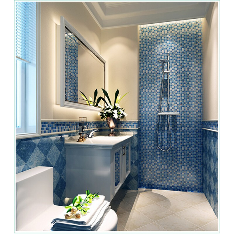 Blue Crystal Glass Tile Crackle Wall Tile Backsplshes Bathroom Resin With Natural Shell Tiles KLGT18