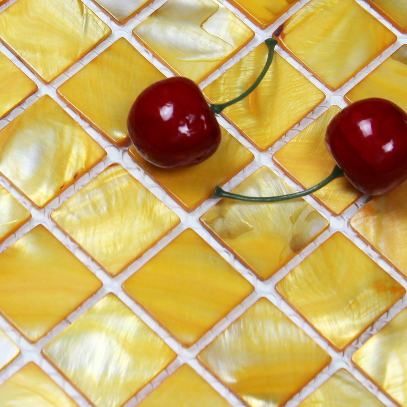 Shell Tiles 100 Yellow Seashell Mosaic Mother Of Pearl