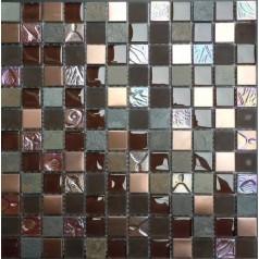 Floor Tiles Natural Stone Glass Iridescent Deco Mosaic Brown Bathroom Tiles Design