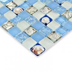 Glass mosaic tile kitchen backsplash crystal glass tile shell mosaic tiles bathroom wall Tile HM0001