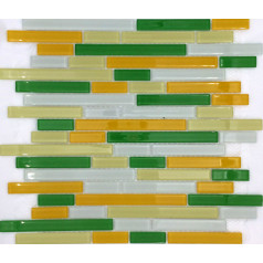 Yellow Mosaic Glass Tile Green Bathroom Liner Wall Backsplash White Glitter Tiles Strip Interlocking