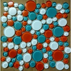Round Mosaic Tile Backsplash Blue Random White Glass Tiles Kitchen Firebrick Floor Tiles