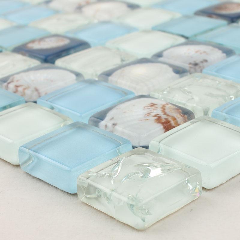 Wholesale Mosaic Tile Crystal Glass Shell Tile Backsplash Crackle ...