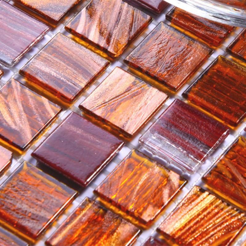 Sample Beige Cream Hand Painted Glass Pattern Mosaic Tile: Glass Mosaic Tile Brown Crystal Backsplash Tiles Hand