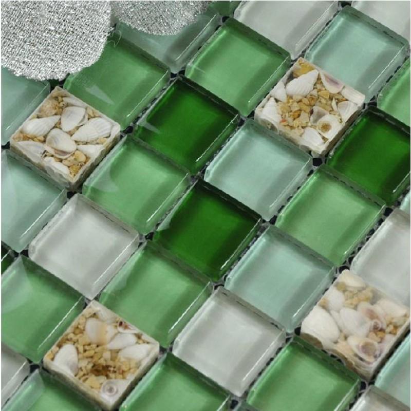 Glass Mosaic Tiles Green Crystal Backsplash Tile Bathroom ...