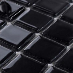 Glass Mosaic for Swimming Pool Tile Sheet Black Crystal Backsplash Kitchen Decorative Art Wall Tiles