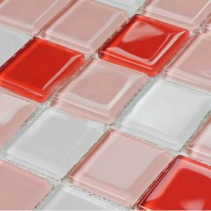 Glass Mosaic for Swimming Pool Tile Sheet Red White Mix Crystal Backsplash Kitchen Design Wall Tiles