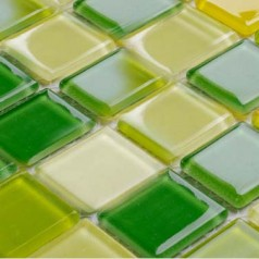 Glass Mosaic for Swimming Pool Tile Sheet Green Yellow Crystal Backsplash Kitchen Design Wall Tiles