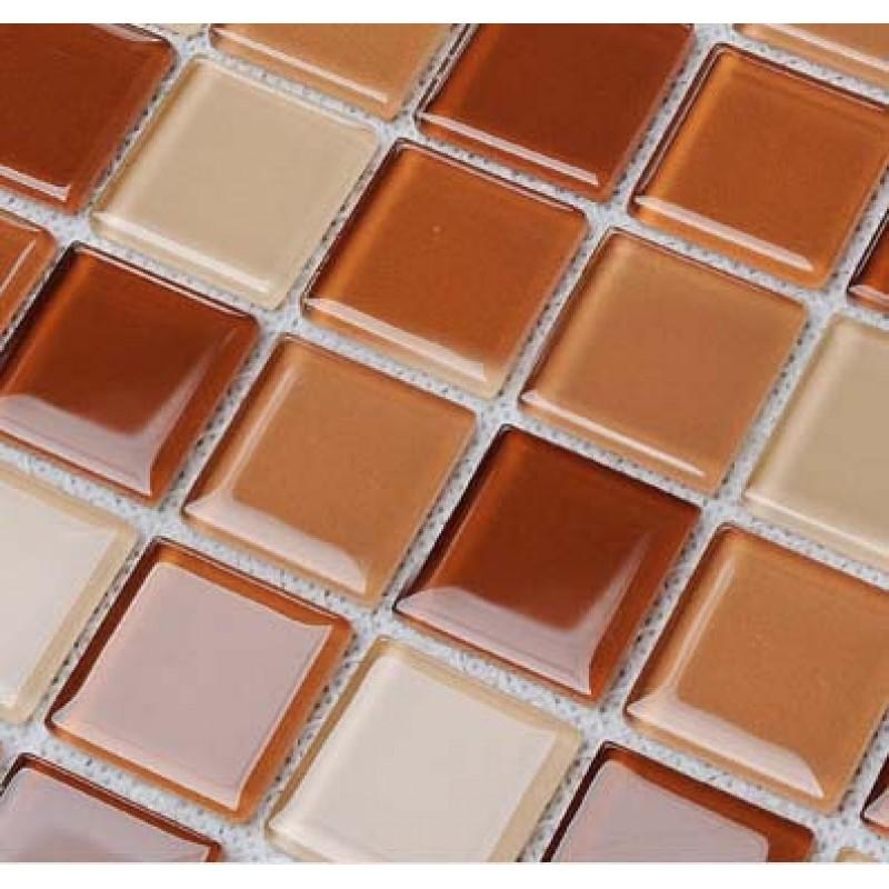 Wholesale glass mosaic for swimming pool tile sheet brown crystal backsplash kitchen decorative for Glass mosaic swimming pool tiles