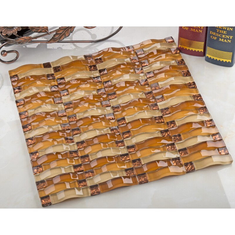 Brown Arched Tile Crystal Glass Tile Plated Glass Diamond Tile Wall