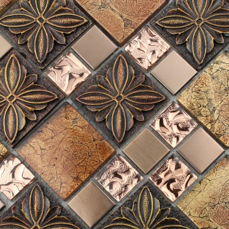 Glass tile Brown glass mosaic tiles crystal glass tile kitchen backsplash wall tiles Porcelain 1390