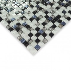Black and white glass mosaic tile glossy glass wall tile silver glass mosaic tiles HM0006
