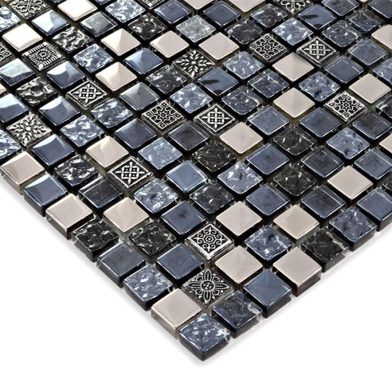 Black Glass Tile Silver Glass Mosaic Tiles Crystal Glass Tile Kitchen Backsplash Wall Tiles Hm0017