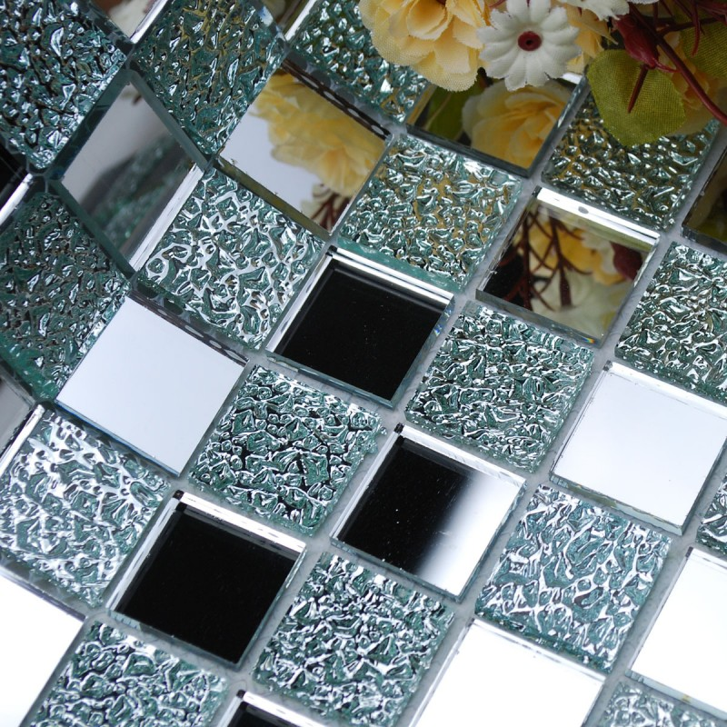 Mirror Tile Squares Blue Bathroom Mirrored Wall Backsplash 1 Inch Glass Mosaic Tiles Decorative