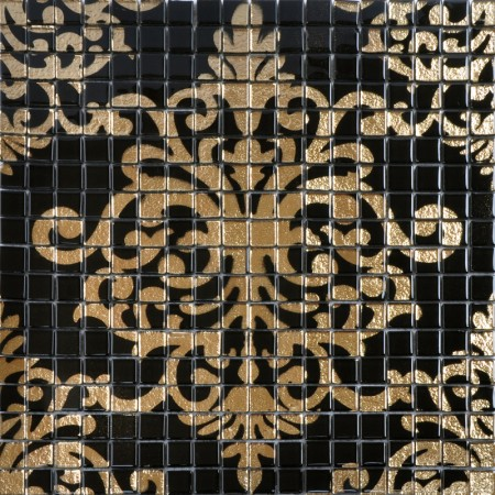 Gold and Black Tile Mural Puzzle Mosaic Glass Wall Murals Arabesque Plate Wall Decoration BTM007