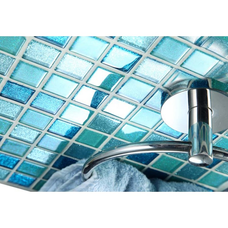 Square Glass Tile Bathroom Powder Mosaic Patterns Washroom Wall Blue