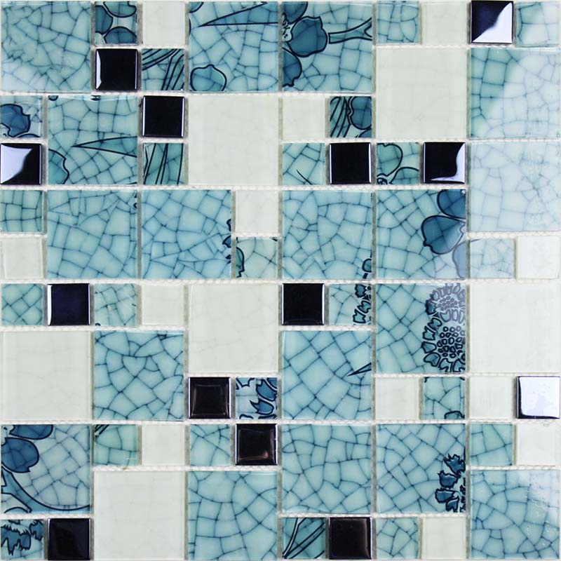 Crystal glass mosaic kitchen tiles washroom backsplash bathroom blue and white tile crackle - Mosaic kitchen ...