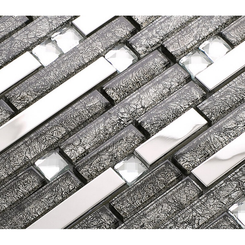 Stainless Steel Pattern Gray Glass Mosaic Tile: Grey Glass Interlocking Mosaic Tile Silver 304 Stainless
