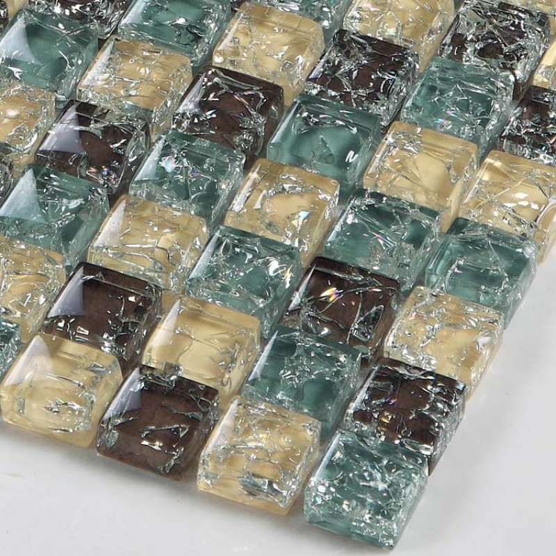 Sample Green Brown Crackle Glass Subway Mosaic Tile: Yellow Brown Crackle Glass Mosaic Tiffany Blue Crystal