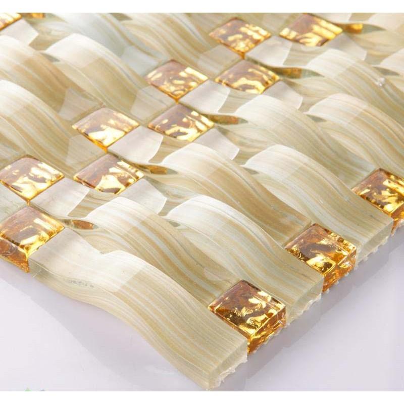 Hand Painted Glass Tile Gold Crystal Mosaic Backsplash