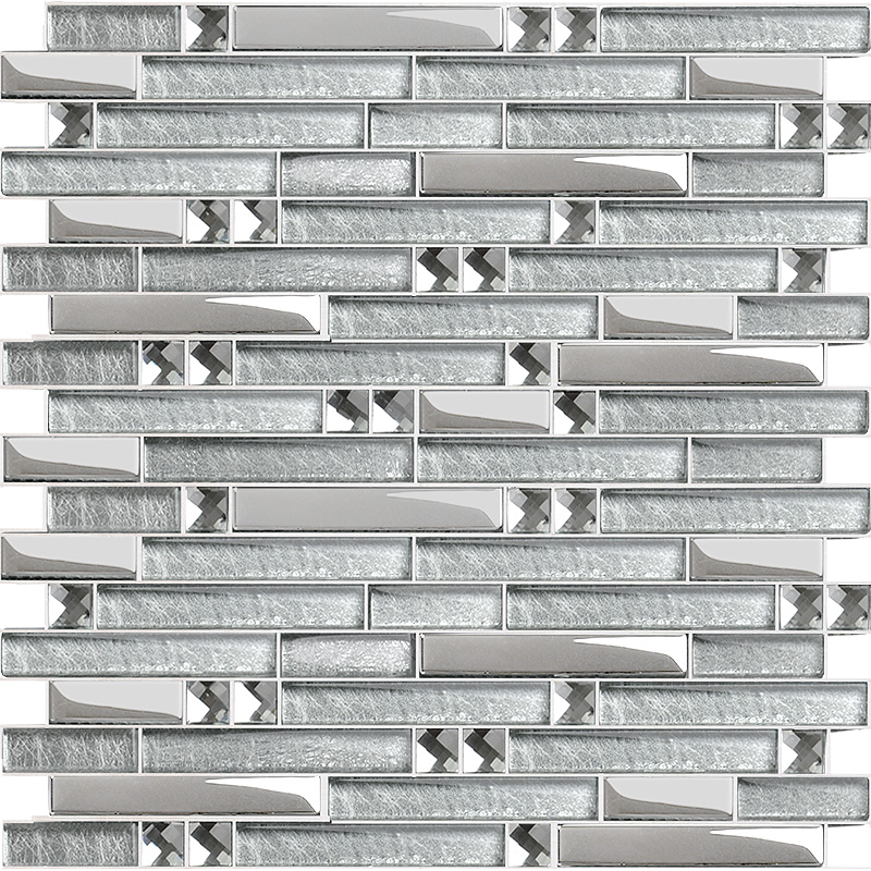 Metal Diamond Glass Mosaic Bath Wall Silver Stainless