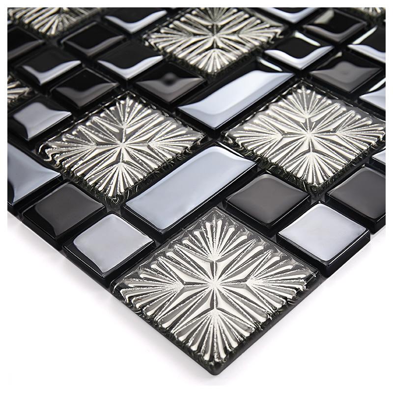 Metal coating mosaic tiles art design glass tile bedroom for Washroom tiles design