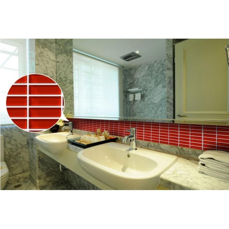 Crystal Glass Tile Brick Rectangle Kitchen Backsplash Tiles Bathroom Wall  Stickers Red Mosaic Tiles 663