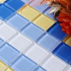 Glass Mosaic Tile Crystal Backsplash Wall Tiles Puzzle Mosaic Tile cream white Glass Tile CL103