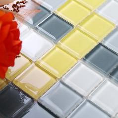 Glass Mosaic Tile Crystal Backsplash Wall Tiles Puzzle Mosaic Tile cream white Glass Tile CL106