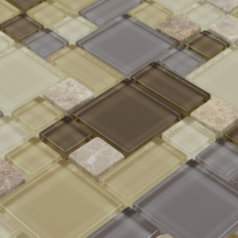 Glass Marble Backsplash: Glass & Stone Blend Mosaic Marble Wall Tiles