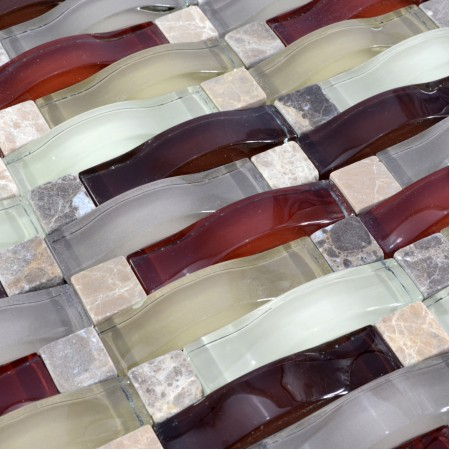 Crystal Mosaic Tile Arched Kitchen Backsplash Bridge Patterns Glass & Stone Subway Mosaic Marble Wall Tiles SG135