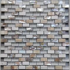 "Mosaic Glass Tile Backsplash Stone Kitchen Wall 3/5""X1-1/6"" Mother Of Pearl Subway Tiles"