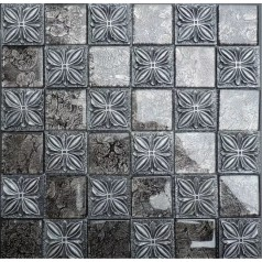 "Glass Mosaic Resin Flower Tile Walls 1-7/8"" Black Brick Tiles Clear Glass Random Patterns"