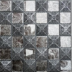 "Glossy Glass Mosaic Resin Flower Tile 1-7/8"" Black Brick Tiles Clear Glass Random Patterns"