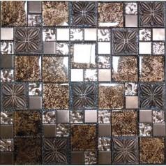 Wave Glass Mosaic Resin Flower Tile Brown Brick Tiles Clear Glass Random Patterns