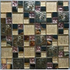 Gold Glass Mosaic 3D Stainless Steel Flower Patterns Metal Backsplash Tile