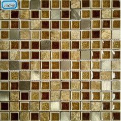 Brown Stone and Glass Mosaic Tile Brushed Aluminum Metal Wall Tiles Kitchen Backsplash GL2301D