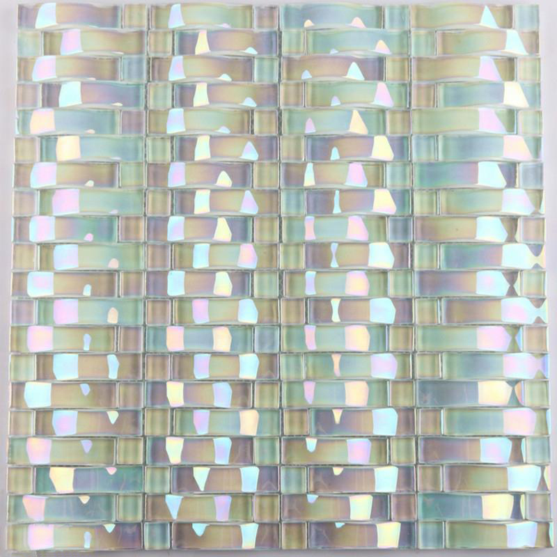 Glass mosaic tile interlocking arched crystal glass tile backsplash yf 89 iridescent wall tiles Backsplash wall tile