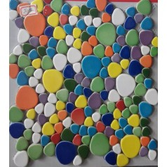 Pebbles Porcelain Glaze Tile Multicolored Pebble Mosaic Discount Floor Tiles