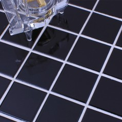 Glazed Porcelain Brick Tile Mosaic Black Square Surface Art Tiles Floor Bathroom Mirror Wall Sticker