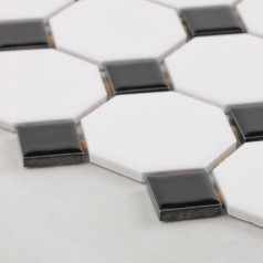 Glazed Porcelain Pool Tile Mosaic Black White Octagon Surface Art Tiles Floor Kitchen Backsplashes
