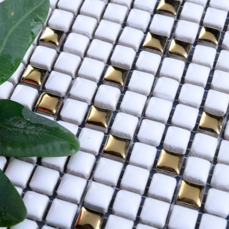 Glazed Ceramic Mosaic Floor Tile Plated Gold Tile Backsplash Bathroom Wall Cream Porcelain Tiles